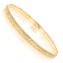Solid 14K Gold Floral Bangle Bracelet for Women by Luxurman