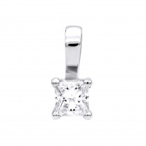 Solitaire Princess Cut Diamond Pendant for Women 14K Gold Charm 0.2CT