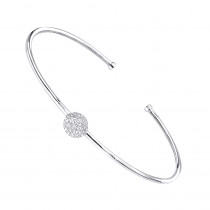 Stackable 14k Gold Pave Diamond Bangle Bracelet for Women 0.42ct  Luxurman