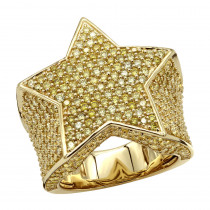 Statement Mens Pinky Rings 14k Gold 4 Carat Yellow Diamonds Star Ring