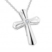 Sterling Silver Ladies Diamond Cross Pendant Luxurman Love Quotes Necklaces
