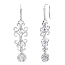 Sultan Style Long Dangle Diamond Drop Earrings 2.5CT 14K Gold by Luxurman