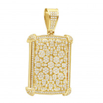 Unique 10K Gold Diamond Dog Tag Pendant For Men 3D Flower Setting 3.25Ct