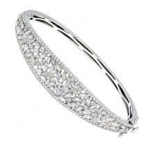 Unique 14K Gold Baguette & Round Diamond Bangle Bracelet for Women 3 Carat