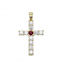Unique 14K Gold Ruby and Diamond Cross Pendant for Women 1.33ct by Luxurman