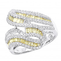 Unique 14K Gold White and Yellow Diamonds Cocktail Ring For Women 1.35ct