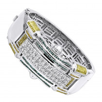 Unique 14K Gold White Blue And Yellow Diamond Bangle Bracelet for Men 14.5C