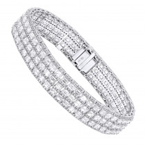 Unique 18K Gold Round & Baguette Diamond Tennis Bracelet for Men & Women