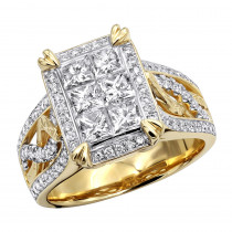 Unique 5 Carat Look Princess Cut &  Round Diamonds Engagement Ring 14k Gold