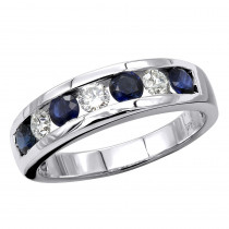Unique Anniversary Rings 14k Gold Diamonds & Sapphires Wedding Band for Men