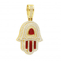 Unique Jewish Jewelry 14K Gold Diamond Hamsa Hand Pendant with Red Enamel