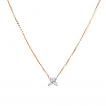 Unique Ladies 14k Gold Flower Neckace with 1 Carat Marquise Cut Diamonds