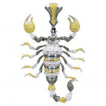 Unique Mens 14K Gold White Blue Green Diamond Scorpion Pendant 9.5CTW