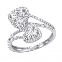Unique Two Hearts Diamond Ring For Women 0.8CT 14K Gold by Luxurman