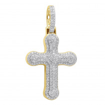 Uniquely Designed 14k Gold Pave Diamond Cross Pendant For Men & Women 1.2ct