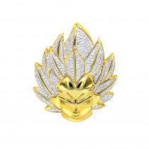 Vegeta Real 10K Gold Diamond Dragon Ball Z Pendant for Men 0.75ct Charm