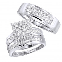 Wedding and Engagement Trio Diamond Ring Set for Him and Her 1.3ct 14K Gold