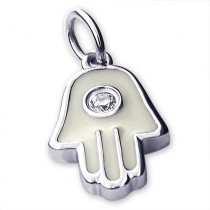 Jewish Jewelry: 14K Gold Small Hamsa Pendant with Diamonds 0.02ct
