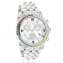 Unique Joe Rodeo White Yellow Red Blue Diamond Watch for Men 3.3ct