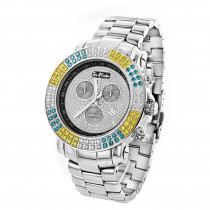 Joe Rodeo Junior Men's Diamond Watch White Yellow Blue Diamonds 4.3ct