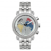 Joe Rodeo Mens Diamond Watch 1.75ct Classic Worldmap with Floating Stones