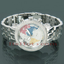 Joe Rodeo World Map Continents Diamond Watch 1.75ct