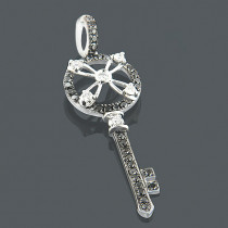 Key Pendants 14K White Black Diamond Key Pendant .49ct