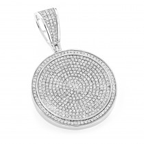 Ladies 10K Gold Diamond Iced Out Medallion Pendant 1 Carat