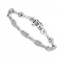 Ladies 14K Gold Designer Diamond Bracelet 1.5ct
