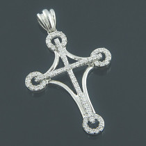 Ladies 14K Gold Designer Diamond Cross Pendant 0.64ct