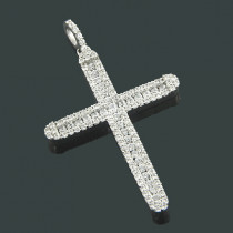 Ladies 14K Gold Designer Diamond Cross Pendant 1.41ct