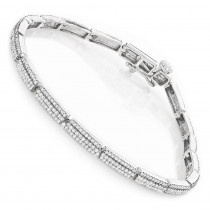 Ladies 14K Gold Designer Diamond Tennis Bracelet 2.16ct