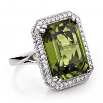Ladies 14K Gold Peridot Quartz Gemstone Diamond Cocktail Ring 1.75ct
