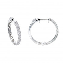 Ladies 14K Gold 1 inch Diamond Hoop Earrings Small 0.9ct