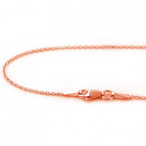 Ladies 14K Solid Rose Gold Chain 16-18 in 1mm
