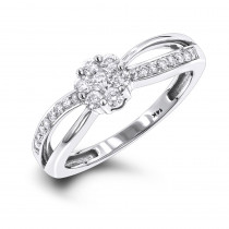 Engagement Promise Rings Ladies 14K White Gold Diamond Flower Ring 0.4ct
