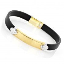 Ladies 18K Gold and Rubber Bracelet