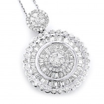 Ladies 18K Gold Designer Diamond Circle Pendant 2.75ct