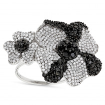 Ladies Black and White Diamond Flower Ring 2.5ct 14K Gold