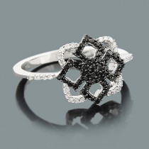 Ultra Thin Ladies Black and White Diamond Ring 0.31ct 14K Gold