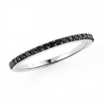 Ultra Thin Ladies Black Diamond Band Stackable 0.3ct 14K Gold