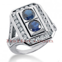 Ladies Blue Sapphire and Diamond Ring 14K 1.32ctd 1.50cts