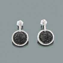 Ladies Circle Earrings with Black and White Diamonds 0.60ct 14K Gold