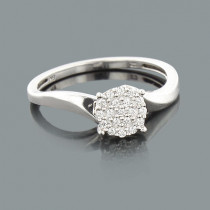 Ladies Cluster Diamond Ring 0.12ct 14K Gold