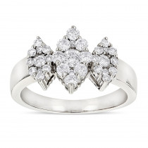 Ladies Cluster Diamond Ring 1.2ct Three Stone Marquise Diamonds Look