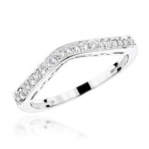 Ladies Curved Diamond Wedding Band 14K Gold 0.2ct
