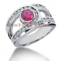 Ladies Designer Diamond and Ruby Ring 14K 0.84ctd 0.75ctr