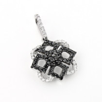 Ladies Designer Pendant with Black and White Diamonds 0.30ct 14K Gold