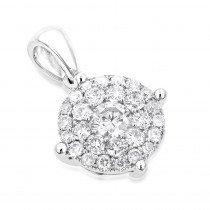 Ladies Diamond Circle Pendant 0.55ct 14K