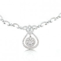 Ladies Diamond Drop Necklace 1.70ct 14K Gold